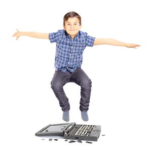 Kid jumping on laptop